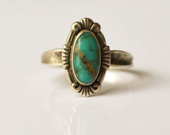 Turquoise and Sterling Ring, Southwestern Bell Trading Post Size 7