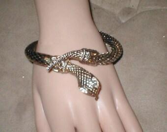 Vintage Whiting & Davis silver metal mesh SNAKE Bracelet