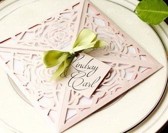 Laser Cut Roses in Shimmery Blush Pink Spring Green Ribbon Bow and Tag - LINDSEY - *Sample* Wedding or Shower Invitation woth RSVP card