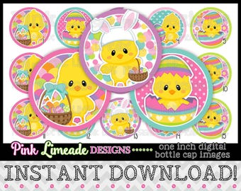 "Colorful Easter Chicks - INSTANT DOWNLOAD 1"" Bottle Cap Images 4x6 - 1010"