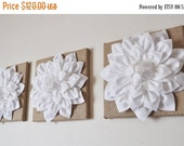 "SALE Large Wall Art 14 x 14 Burlap -SET OF Three White Dahlias on Burlap 14 x14"" Canvas Wall Art- Home Decor"
