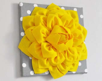 Sunshine Yellow Wall Decor, Dahlia Flower, Bright colors, Yellow and Gray, Flower wall art, unique home decor, accent art, nursery wall art