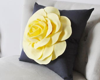 Light Yellow Rose on Charcoal Gray Pillow, Nursery Throw Pillow, Rose Home Decor, Pale Yellow, Pastel Yellow Pillow