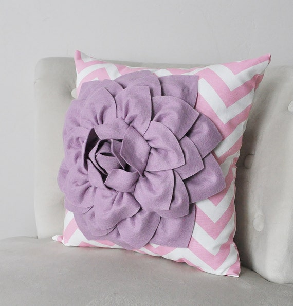 Items similar to Decorative Flower Pillow Lilac Dahlia on Pink and White Chevron Accent Pillow ...