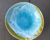 Aqua Blue Green Ceramic Soap Dish Trinket Dish in a Drippy Beach Water Crackly Glaze Gift Idea Handmade Artisan Pottery by Licia Lucas Pfadt