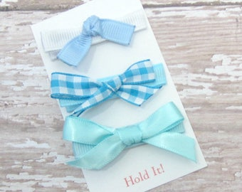Blue Bow Hair Clip, Girl Hair Clip, Bow Hair Clip, Womens Hair Clip, Baby Bow Hair Clip, Toddler Bow Hair Clip, Hair Clip, Set of 3