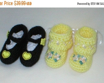 40% OFF RETIRING SALE Crochet Baby 0-3 Mts. Black Yellow Satin Hearts Mary Janes White Yellow Venise Lace Tribuds Booties Gi