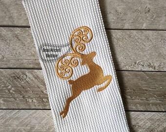 Reindeer head back embroidery design