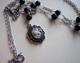 Rose cameo necklace | rose pendant | floral | small | beaded lariat  | black agate | botswana