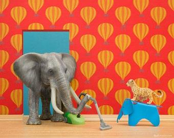 Elephant nursery decor art print, new baby gift: Tickle Trunk