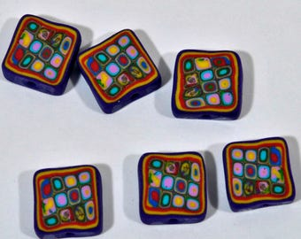 Polymer Clay Beads - Set of 6 in Retro Purple