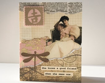 Friendship Card - Handmade Card - collage - vintage dictionary -- friendship, birthday, thinking of you, thank you greeting card