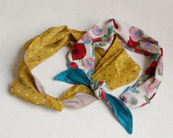 Head scarf, Summer scarf, headband, Head wrap, Polka Dots, Floral, Mustard, white, Beach scarf, Fashion scarf, Gift for her