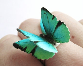 Ecofriendly Ring - Women Teal Jewelry Her - Zircon Blue Ring -Womens Eco Friendly Gift Her -Recycled Paper Ring -Teal Blue Butterfly Jewelry