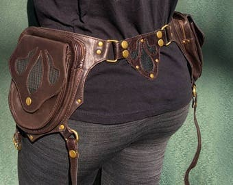 Aura  Brown and antique brass Utility belt bag thigh holsters with removable pockets and leg straps
