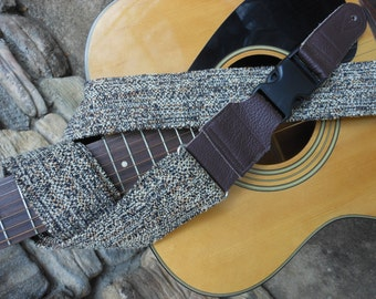 Tan and brown Dulcimer or Guitar Strap by Martha Crow