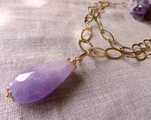 reserved for M. Big amethyst drop pendant necklace with goldfill chain -FAST SHIPPING 2 days delivery