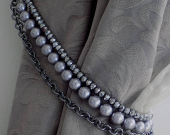 PAIR OF Triple strand grey faux pearls curtain holderS with chain and silver beads, decorative tiebackS