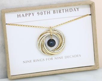 90th birthday gift for her, black pearl necklace, June birthday gift grandma - Lilia
