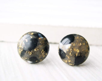 Black Post Earrings, Gold Glitter Studs, Nickel Free, Titanium Jewelry, White, Mid Century Modern