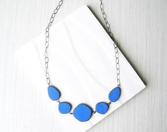 Blue Bib Necklace, Geometric Jewlery, Czech Glass, Simple, Adjustable, Oxidized Look Silver, Royal, Cobalt