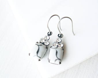 Titanium Drop Earrings - Clear Rhinestone Jewelry, White, Charcoal Grey, Silver, Vintage Glass, Dangle, Nickel Free Earwires, Mid Centrury