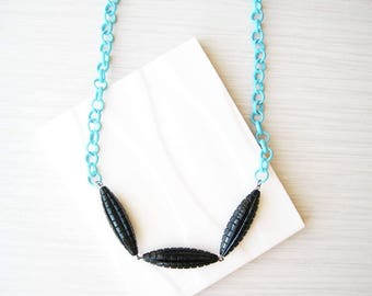Black Beaded Necklace, Simple, Colorful, Sky Blue, Chunky Chain, Artsy Jewelry, Vintage Beads, White, Unusual, Turquoise