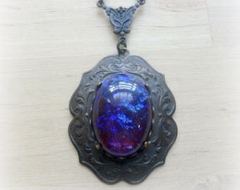 Neo Victorian Jewelry Necklace - Fire Opal - Glass Pendant
