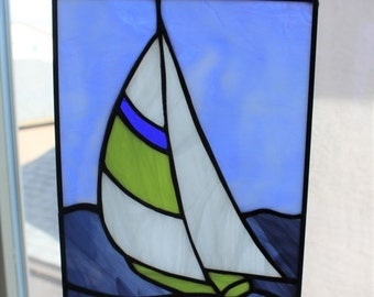 SPRING SALE STAINED Glass Sailboat-Small Suncatcher, Blue Green Sailboat, Window Panel Decoration, Gift for Dad, Under 40 Gift, Stained Glas