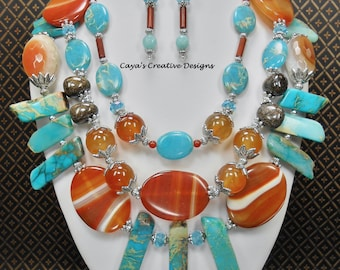 Bohemian Statement Necklace Set / Triple Strand Necklace Set / Agate Jasper Necklace / Statement Necklace / Statement Jewelry - CASSANDRA