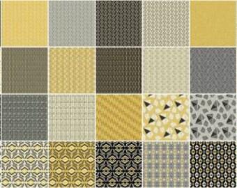 "Sevilla Mellow Yellows from Contempo Studios for Benartex - (42) 5"" Squares - Charm Pack"