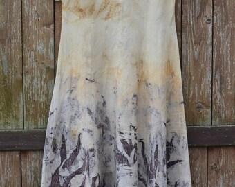Linen dress woman, long summer dress, eco print, flax dress, brown dress, women dresses unique, washed linen dress, short sleeve dress