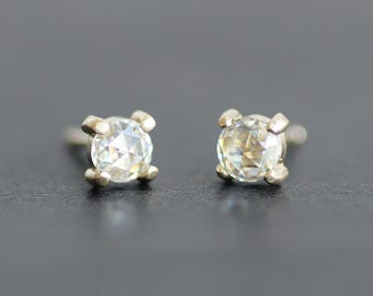 Moissanite 4mm Rose Cut Earrings in 14K Solid Gold Prong Setting - Conflict-Free Diamond Alternative  - Stud / Post Earrings