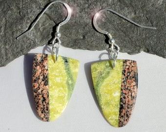 Harmony - Serpentine & Leopardskin Jasper Intarsia Sterling Silver Earrings