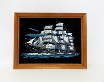 Framed Vintage Paint-By-Number Oil Painting---Large 1970's Painting of Clipper Ship on Black Velvet