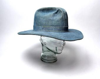1970's Levi's Denim Cowboy Hat, Size 7 1/2