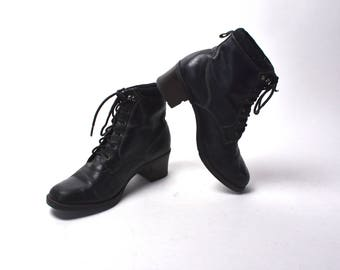 Black Leather Ankle Boots by SPORTO, Women's Size 7 1/2 M