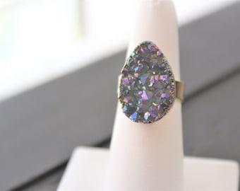 Druzy Ring Geode Ring Druzy Jewelry Geode Jewelry Gold Druzy Ring Gold Geode Ring Pear Druzy Ring Teardrop Druzy Ring Boho Ring Boho Chic