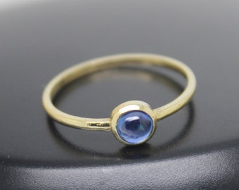 Kyanite Ring, 18k Solid Gold Ring, Thin Gold Ring, Stacking Ring, Stackable Ring, Blue Stone Ring