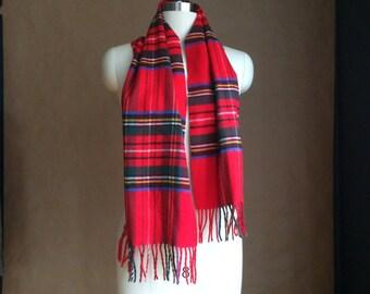 vintage 80's 1980's tartan scarf / plaid scarve /  soft / preppy chic