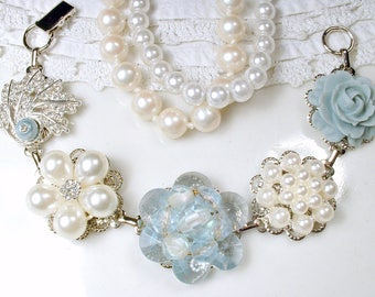 OOAK Dusty Powder Blue & Ivory Pearl Rhinestone Bridal Bracelet, Silver Vintage Earring Bracelet Bridesmaid Gift Wedding Something Blue Old