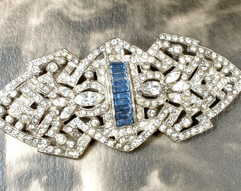 1920s Sapphire HaiR CoMB OR Sash Brooch, Art Deco Navy Blue Clear Pave Rhinestone Vintage Wedding Bridal Sash/OOAK Hairpiece Antique Gatsby