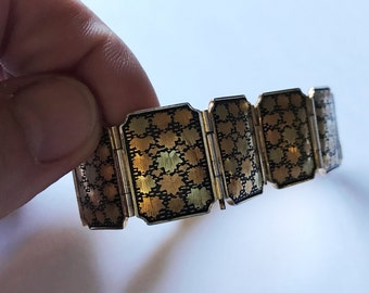 Vintage Japanese Amari Damascene 24k plate inlaid Maple Leaves Bracelet