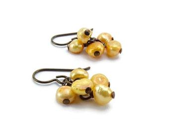 Niobium Earrings Orange Pearl Cluster Hypoallergenic Earrings For Sensitive Ears Metal Allergy Safe Niobium Jewelry Non Allergenic