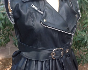 showdiva designs Ruffle Leather Moto Vest ONLY Jacket with Detachable Cape