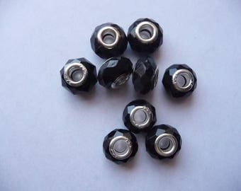 Acryic resin black crystal faceted silver core large hole beads.  Pack of 9 beads.