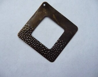 Pendant, Antique brass square dangle 38mm, Pack of 1.