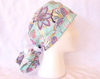 Scrub Hat, PonyTail Scrub Hat, Pony Tail Surgical Hat, Teal, Turquoise