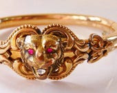 Victorian gold filled lion lioness head hinged bangle bracelet | antique vintage 1890s | hallmarked FMCo | antique jewelry
