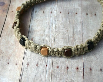 Surfer Phatty Thick Hemp Necklace With Square Wood Beads Choker